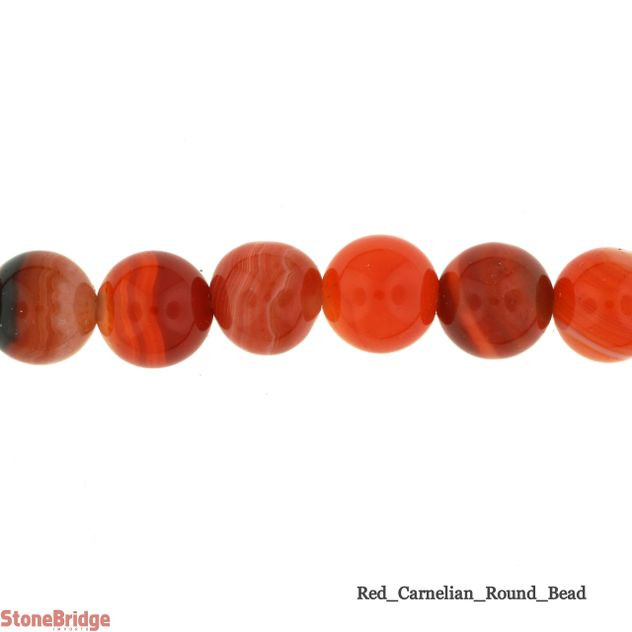Dark Red Carnelian - Round Bead 15""