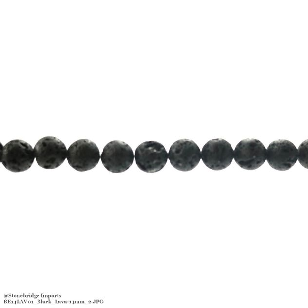 "Black Lava - Round Bead 15"" strand - 14mm"