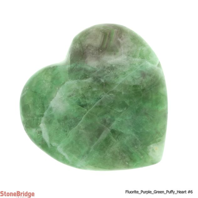 Fluorite Purple and Green Puffy Heart - Size #6