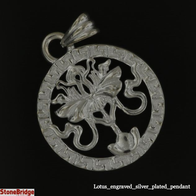 Lotus engraved silver plated pendant