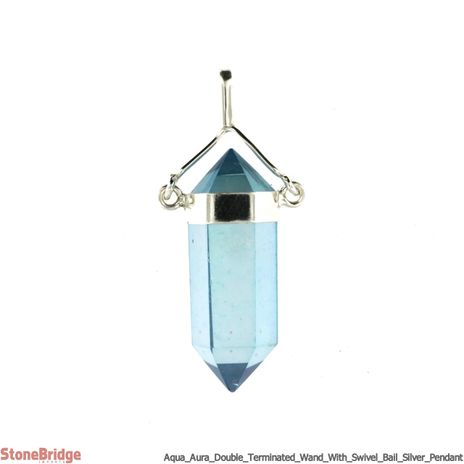 Aqua Aura Double terminated wand with swivel bail - Silver Pendant
