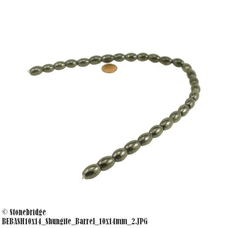 "Shungite - Barrel Bead 16"" strand - 10mm x 14mm"