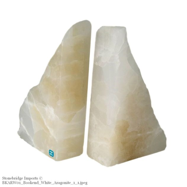 White Aragonite Rustic Bookend -17cm tall