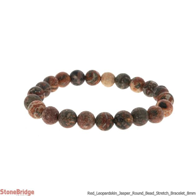 Red Leopardskin Jasper Round Bead Stretch Bracelet - 8mm