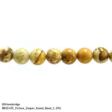 "Picture Jasper - Round Bead 15"" strand - 8mm"