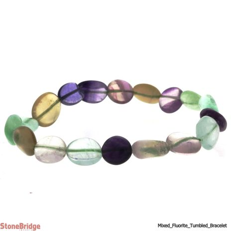 Fluorite Mix Colour Tumbled Bead Stretch Bracelet