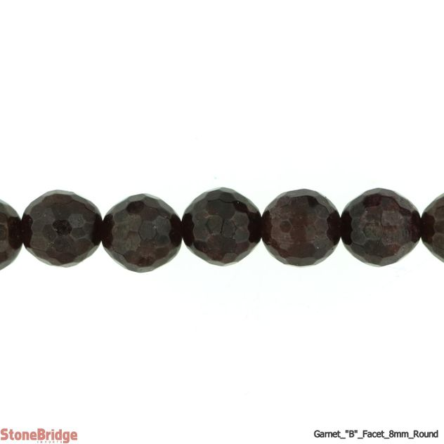 "Garnet B Faceted - Round Bead 15"" strand - 8mm"
