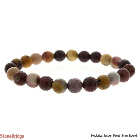 Mookaite Faceted Round Bead Stretch Bracelet - 8mm