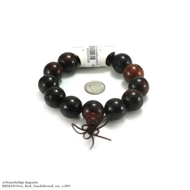 Red Sandalwood Carved Mala Bracelet - 18mm -#9