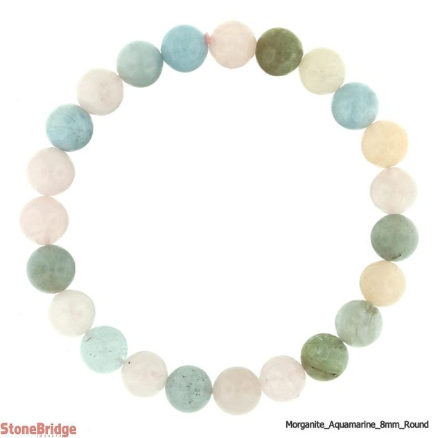 Aquamarine Morganite Round Bead Stretch Bracelet