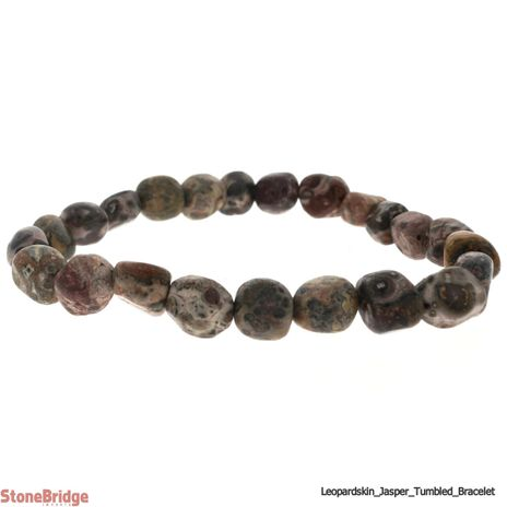 Leopardskin Jasper Tumbled Bead Stretch Bracelet