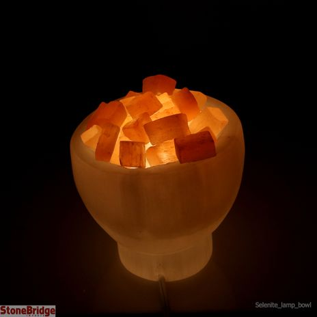 """Selenite Lamp Bowl 6"""" Diameter with Crystal Chips on Top"""