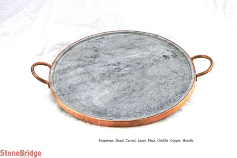 """Soapstone Pizza Cooking Stone - Copper handles - 14"""" - Large"""