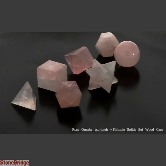 "Rose Quartz 3/4"" - 7 Platonic Solids Set"