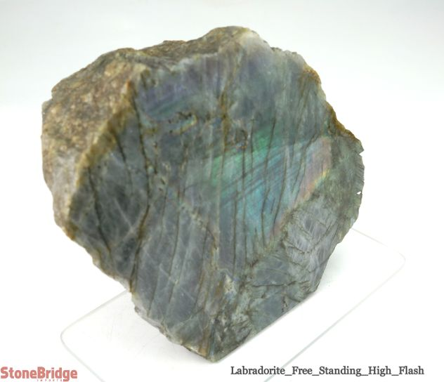 Labradorite Standing Slice - Polished Face, Rough Back - Unique #19