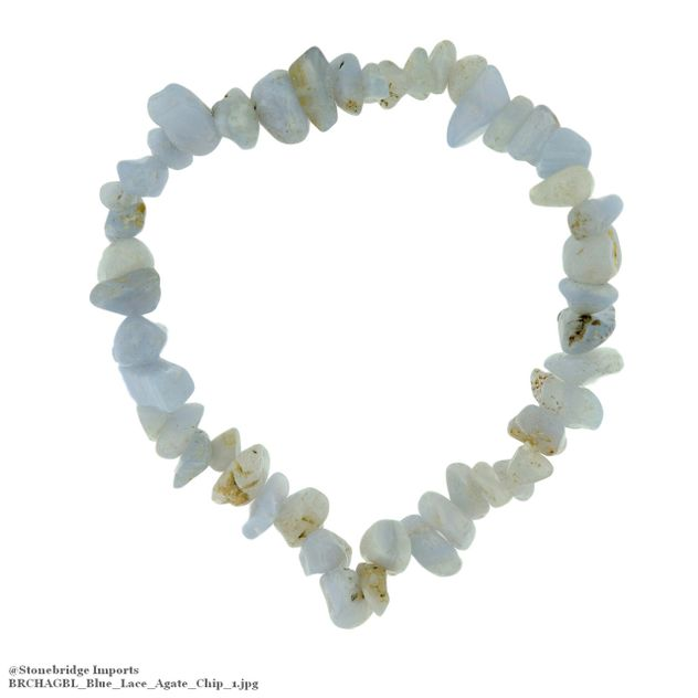 Blue Lace Agate Chip Bead Stretch Bracelet