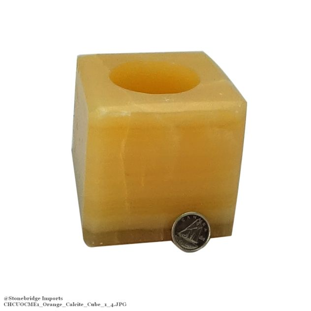 Calcite Orange Polished Cube Candle Holder