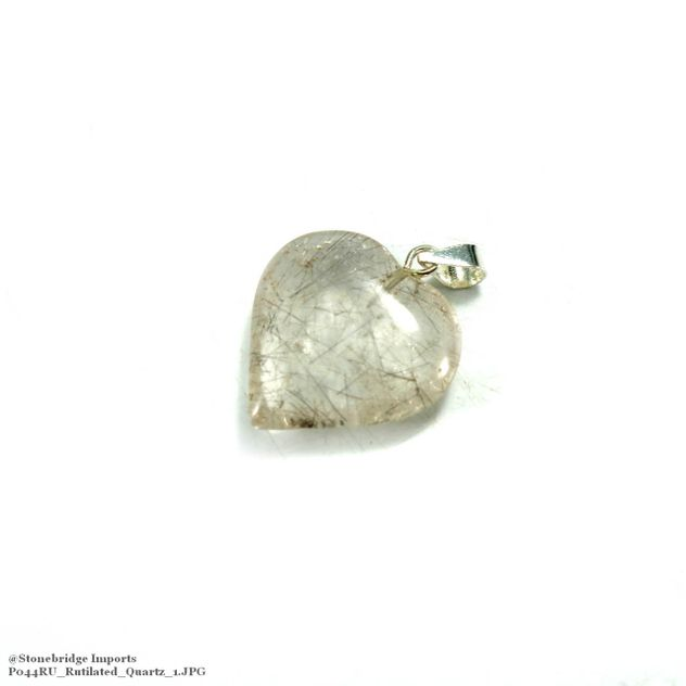 Rutilated Quartz Heart - Silver Pendant