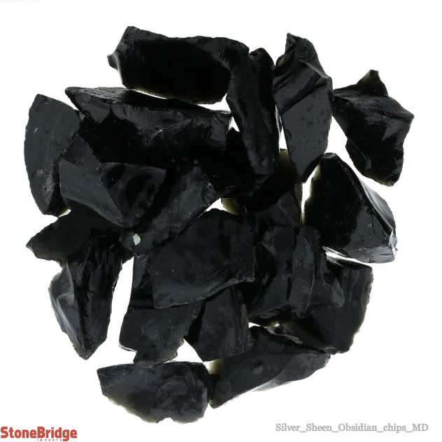 Silver Sheen Obsidian Chips - Medium - 250g Bag