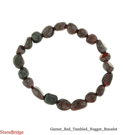 Garnet Red Tumbled Bead Stretch Bracelet