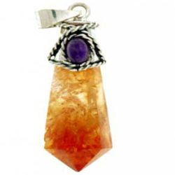 Citrine Antique cone style with Cabochon - Silver Pendant