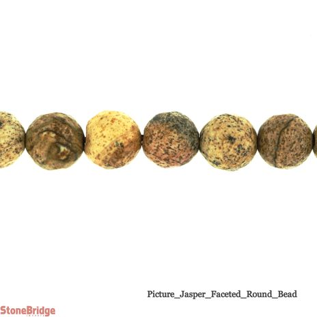 """Picture Jasper Faceted- Round Bead 15"""""""