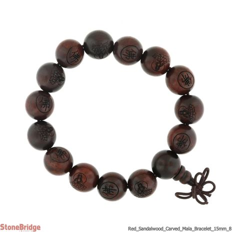 Red Sandalwood Carved Mala Bracelet - 15mm