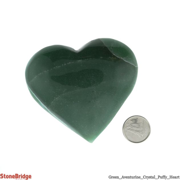 "Green Aventurine Puffy Heart - Size #6 - 2"" to 3 1/4"""
