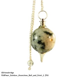 Rainbow Moonstone Ball and Point Pendulum