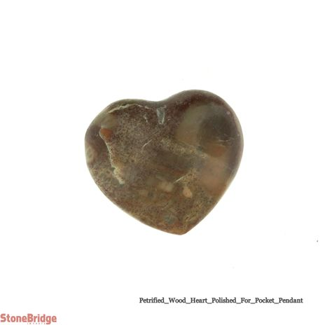 "Petrified Wood Heart Carving - Pocket Size - 3/4"" to 1"""
