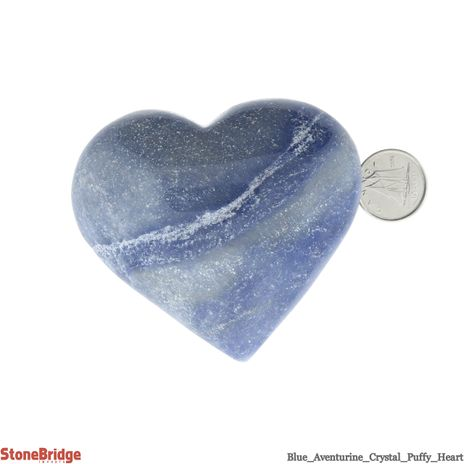 """Blue Aventurine Crystal Puffy Heart - Size #5 - 2"""" to 3"""""""