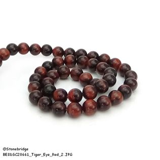 "Tiger's eye Red - Round Bead 15"" strand - 8mm"