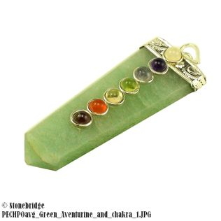 Green Aventurine Point with Chakra Stones Pendant