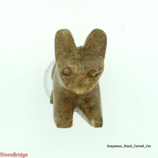 Cat Soapstone Carving Varnished