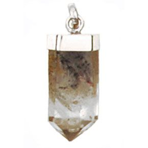 Clear Quartz Point With Inclusion - Silver Pendant