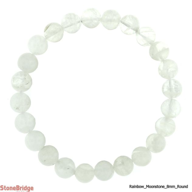 Rainbow Moonstone AA Round Bead Stretch Bracelet