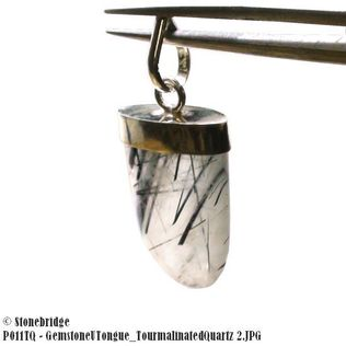 Tourmalinated Quartz U Shape - Silver Pendant