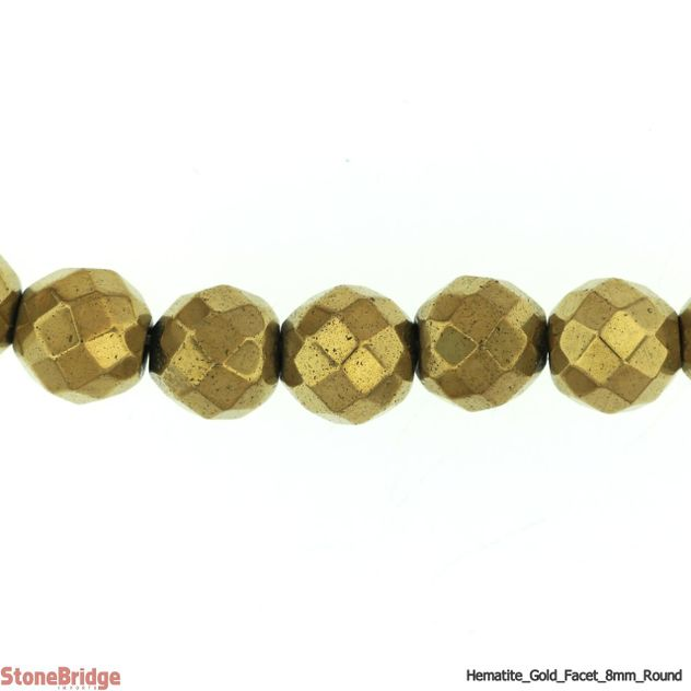 "Hematite Gold Colour Faceted - Round Bead 15"" strand - 8mm"
