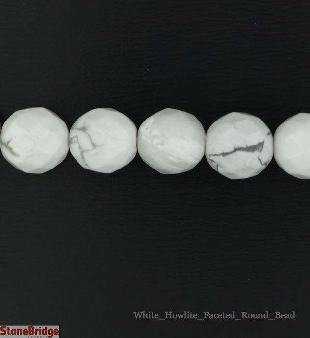 Howlite White Faceted - Round Bead