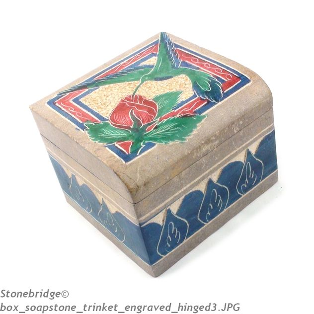 Soapstone Trinket Box with Hinge - Small
