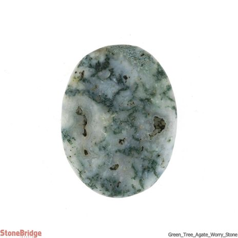 Green Tree Agate Worry Stone