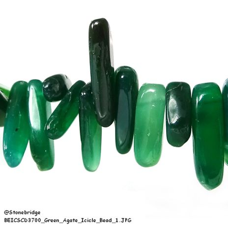 Green Agate - Icicle Bead