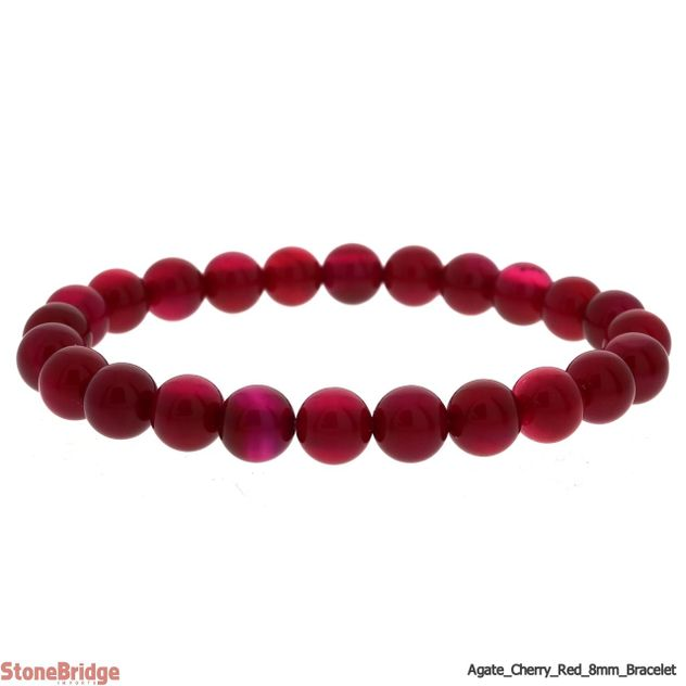 Cherry Red Agate Round Bead Stretch Bracelet - 8mm