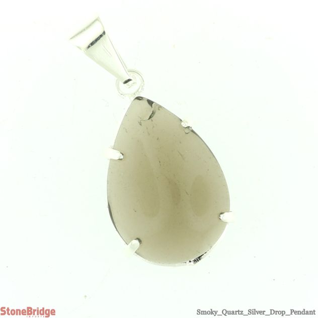 Smoky Quartz Drop Pendant - 18mm x 13mm