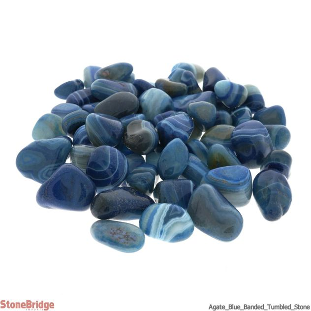 Agate Blue Banded Tumbled Stone