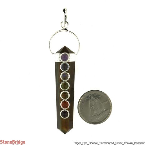 Tiger Eye Double Point with Chakra Stones