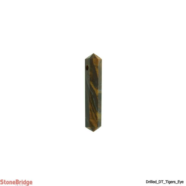 "Tiger Eye Double Terminated Drilled Pendant - 1 3/4"" to 2 1/4"""