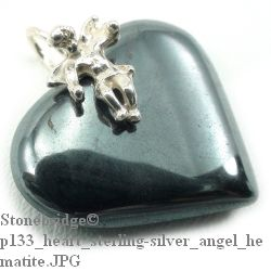 Hematite Heart With Angel - Silver Pendant