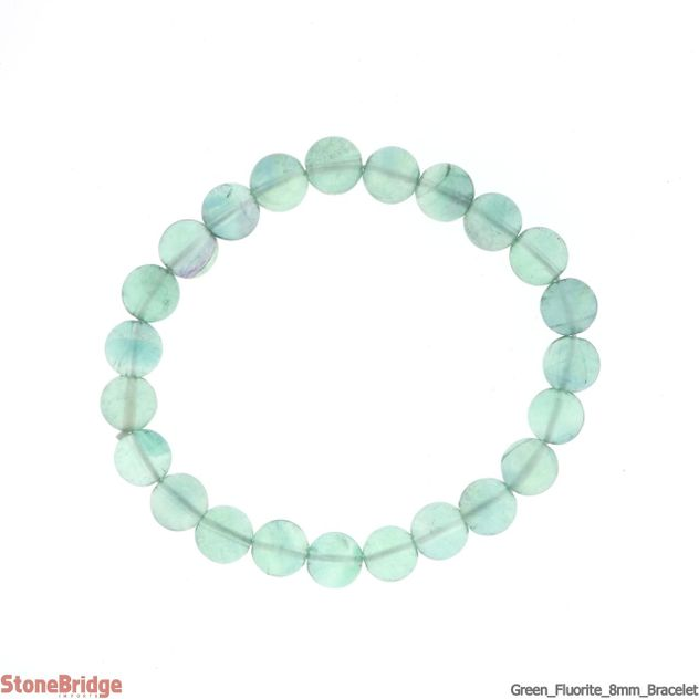 Green Fluorite Round Bead Stretch Bracelet