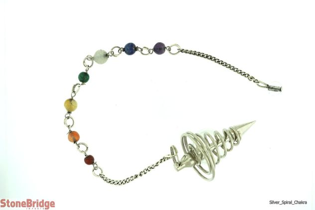 Silver Colour Spiral Point with Chakra Beads on Chain
